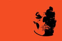 Black Skull/  With Orange Red Background.
