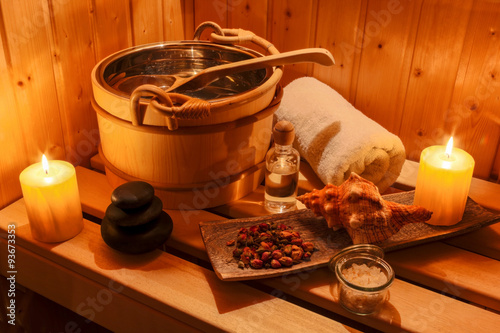 Wellness und Spa in der Sauna Fotobehang