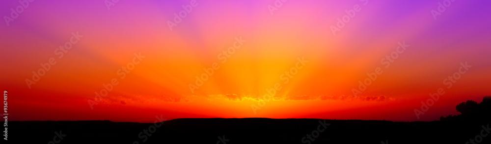 Fototapeta Template di un tramonto rosso viola