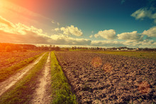 Dirt Road On The Plowed Field At Sunset