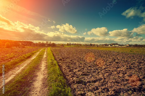 Tuinposter Platteland Dirt road on the plowed field at sunset