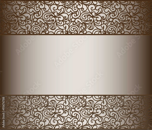 Papiers peints Affiche vintage Vintage lace background for envelope, card or invitation with abstract lace borders. Chocolate color. Vector