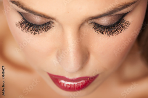 Makeup and artificial eyelashes Fotobehang