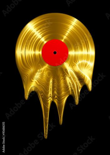 Sticker - Melting gold vinyl record / 3D render of vinyl record melting