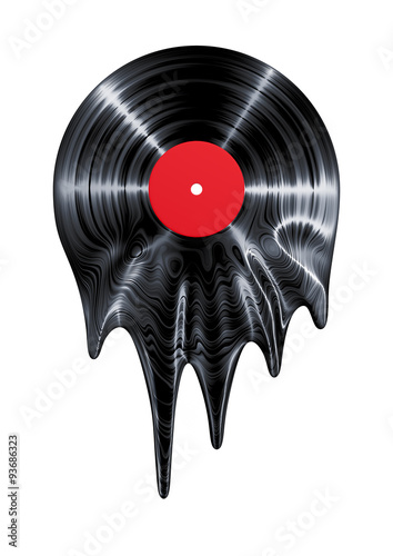 Etiqueta engomada - Melting vinyl record / 3D render of vinyl record melting