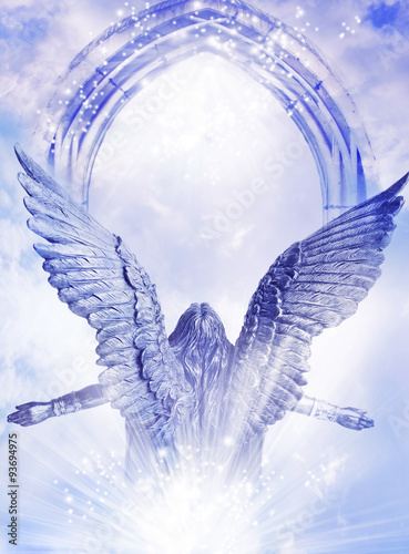 Leinwand Poster Arising Archangel with big wings and mystical gate