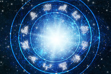 Zodiac Symbols Over Blue Stars...