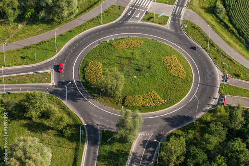 Fotografie, Obraz  aerial view of roundabout