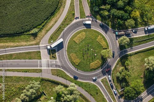 Fototapeta  aerial view of roundabout