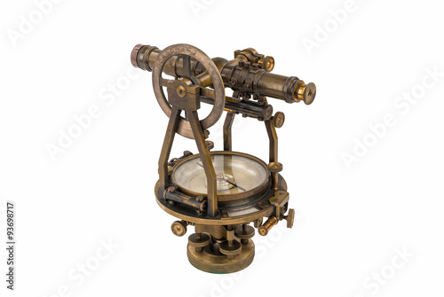 Fotografie, Obraz  Vintage Brass Surveying Level (Transit, Theodolite) with Compass and natural aged Brass Patina, focus stacked and isolated on white background