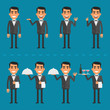 Waiter character in various poses