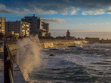 Powerful Ocean Waves Crushing On The Sea Promenade In Cape Town