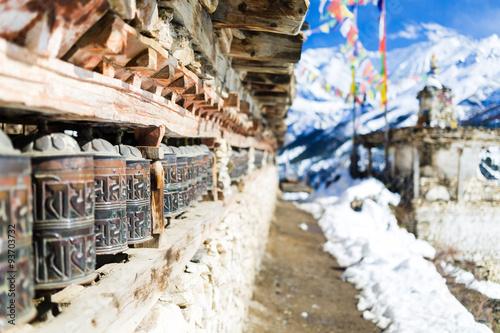Staande foto Nepal Travel to Nepal, Prayer wheels in high Himalaya Mountains, Nepal village