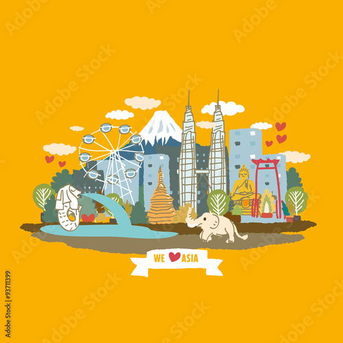 Photo  Asia concept poster - cartoon vector Illustration