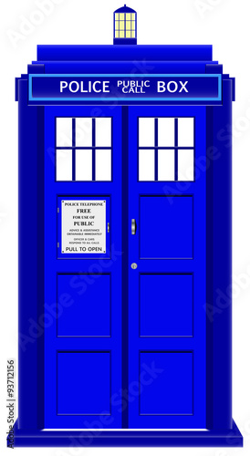 Canvas Print Police Telephone Box With Sign