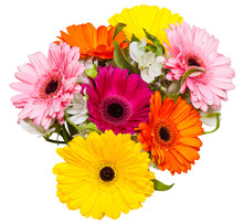 Top View Of Bouquet With Gerbera Flowers Isolated