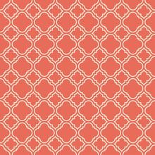 Coral Pink Quatrefoil Pattern