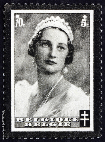 Photo  Postage stamp Belgium 1935 Queen Astrid