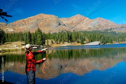 Printed kitchen splashbacks Fishing Fly fishing on Lake Irwin