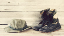 Military Caps And Military Boots