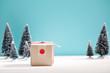 Handmade gift box in miniature evergreen forest