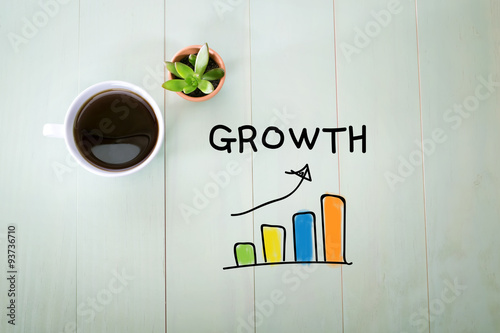 Fotografie, Obraz  Growth concept with a cup of coffee