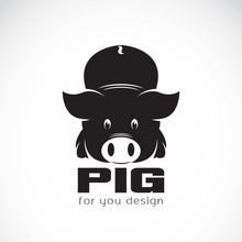 Vector Of A Pig Design On White Background. Animals.