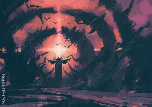 Stary czarodziej rzucający zaklęcie w legowisku czarodziejów