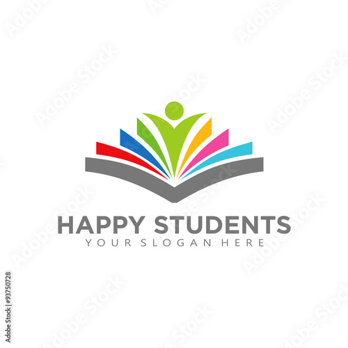 Digital Book Logo Design Vector Happy Student Library Buy