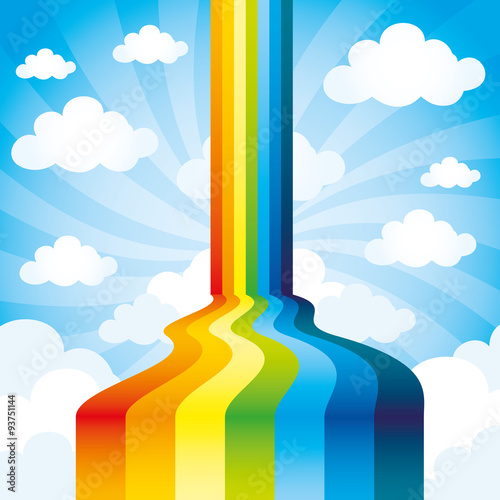 Rainbow and clouds. Wall mural