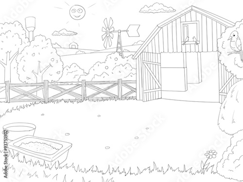 Cartoon Farm Color Book Black And White Outline
