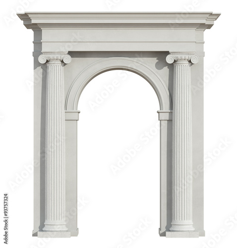 Photo Front view of a classic arch on white