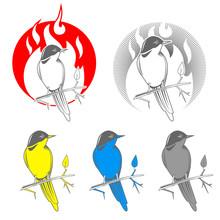 Engraving Bird Nightingale Emblem Vector