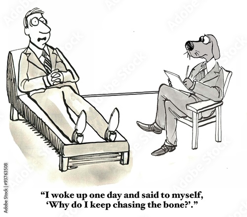 Fotografie, Obraz  Business cartoon showing businessman in therapy saying to therapist dog, '
