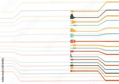 Fotografía  Plug Wire Cable Computer colorful vector illustration
