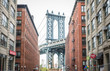 Manhattan bridge view from Brooklyn district. Concept about traveling in New york and landmarks