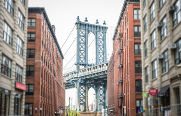 FototapetaManhattan bridge view from Brooklyn district. Concept about traveling in New york and landmarks