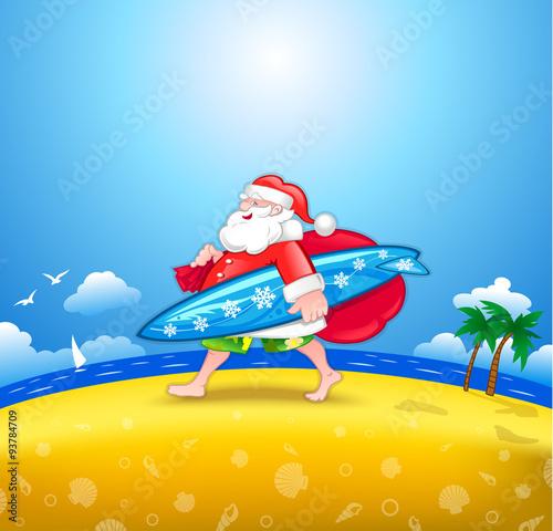 Montage in der Fensternische Flugzeuge, Ballons Santa with surfboard