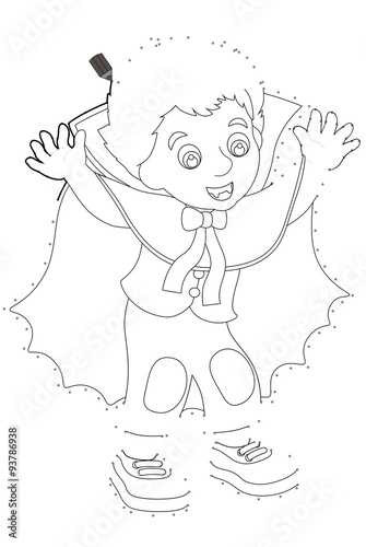 Photo  Cartoon character - halloween - follow the line - vampire - illustration for the