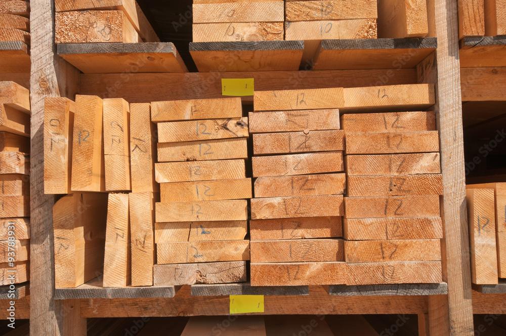 Raw wood planks at lumbermill - obrazy, fototapety, plakaty