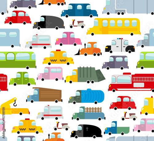 Staande foto Cartoon cars Car seamless pattern. Background of transport in cartoon style.