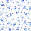 Seamless pattern of bilberry and leaves. Fun colorful pattern. Bright blue watercolor texture. You can use the prints for fabric, paper and so on.