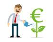 Vector of businessman growing money plant, euro