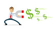 Vector of businessman with magnet attract money, dollar
