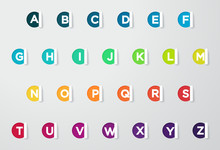 Circle Paper Cut Out Notes With Colorful Letters Of The Alphabet