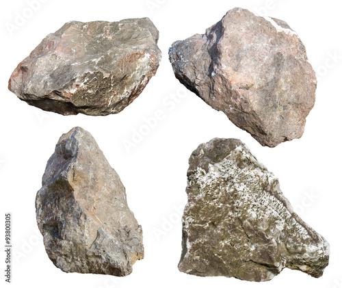 big granite rock stone isolated on white