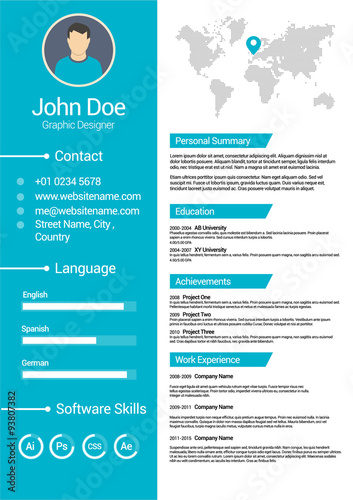 Minimalist Cv Curriculum Vitae Resume Vector Template V2 Buy This