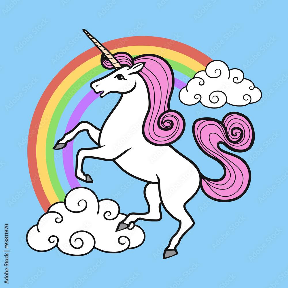 Láminas Vector de dibujos animados del unicornio con el arco iris y ...