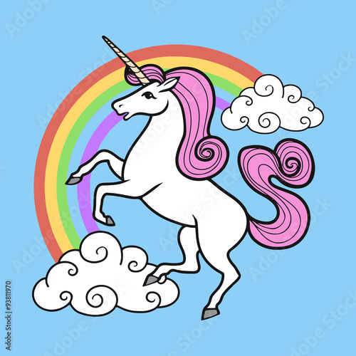 Cartoon vector unicorn with rainbow and clouds. Poster