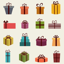 Gift Boxes Collection Color Retro Style